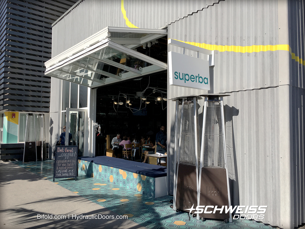 Restaurant canopy glass door