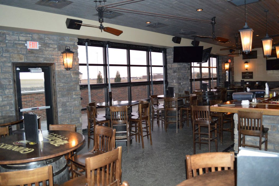 A picture of the inside of The Blarney Stone Irish pub showing off their Bifold doors