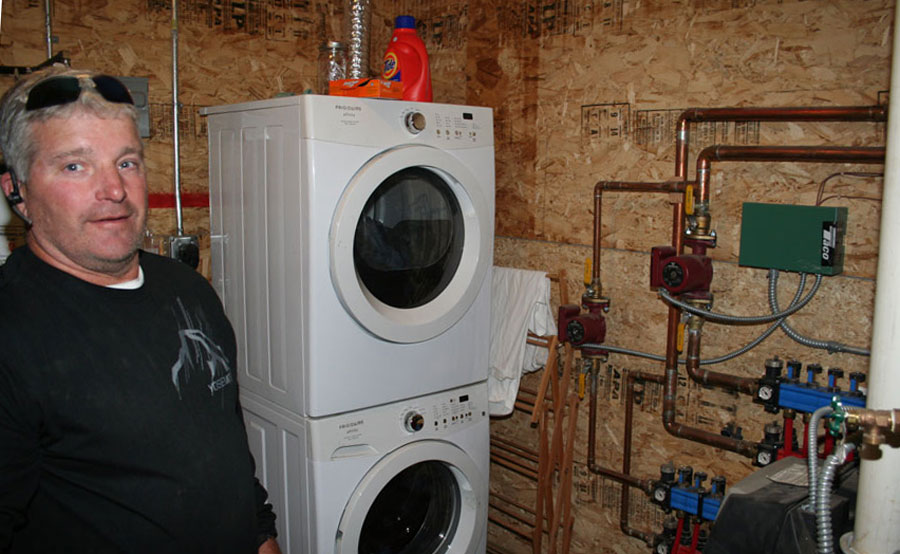 In-floor heat and farm shed laundry room
