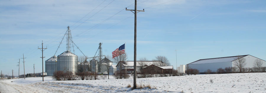 U.S. flag marks the farmsite