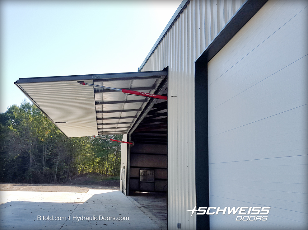 Side View of Open hydraulic hangar door
