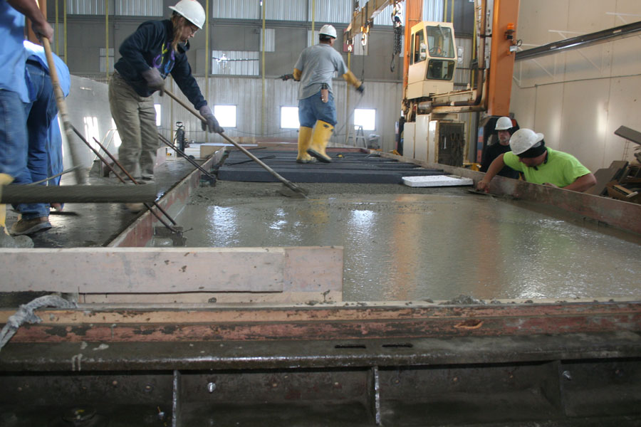 Towering Crane Huge Concrete Precast Panels Move Under