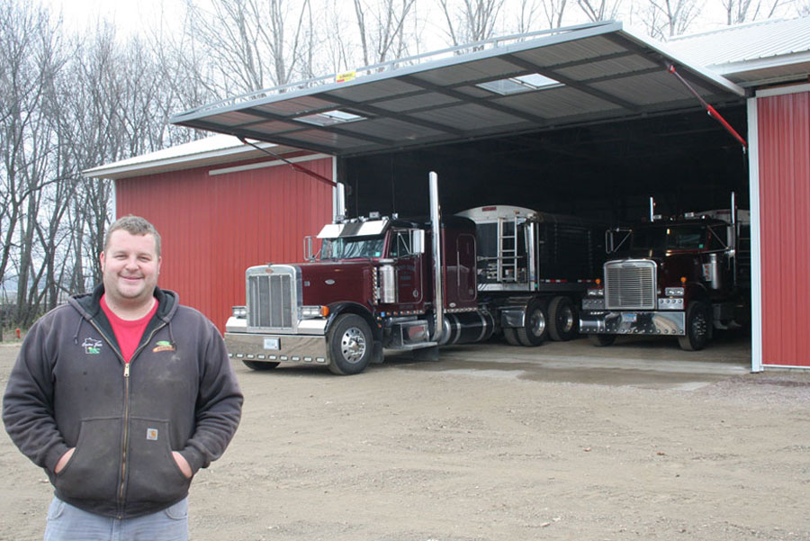 Farmer and his two semi grain trucks