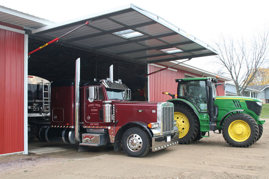 Semi, tractor, and hydraulic door