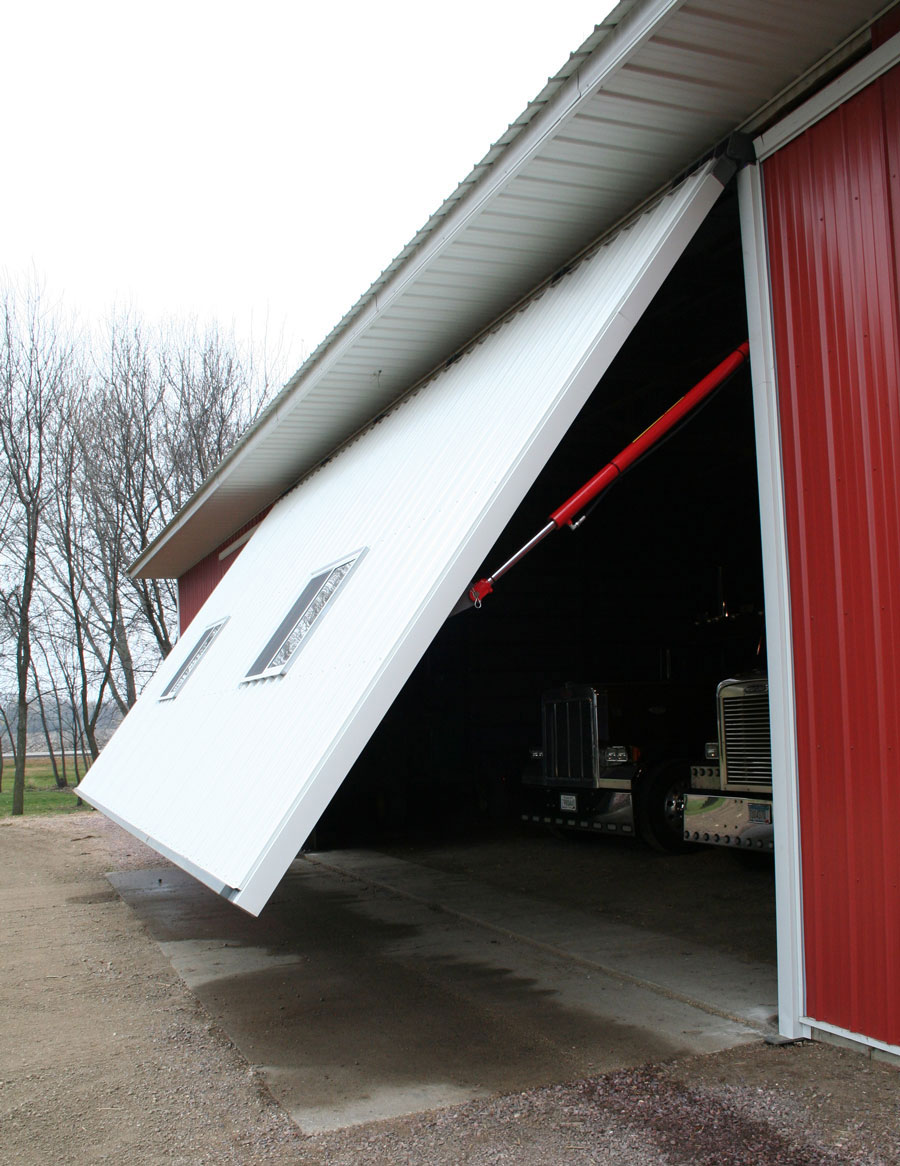 White siding on hydraulic door
