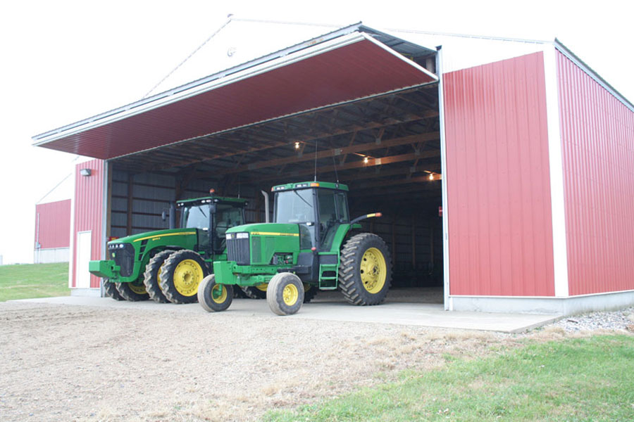 John Deere tractors under bifold door