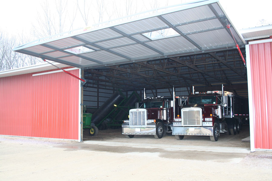 Open hydraulic door and semi tractor-trailers.