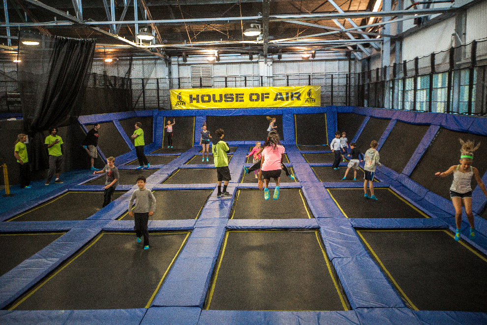 The most popular age group of 7 to 16 year-olds get plenty of exercise jumping on the trampolines.