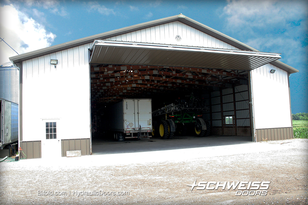 Schweiss 45' by 18' door is opened to let semis and equipment in and out of the building.