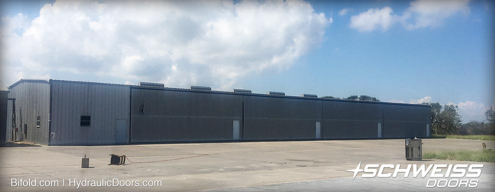 Bifold T-hangar doors hold up against Hurricane Harvey
