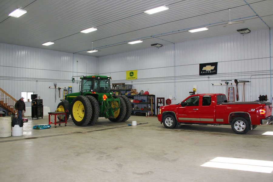 There is plenty of room for this John Deere and this truck to be parked in the Machine Shed