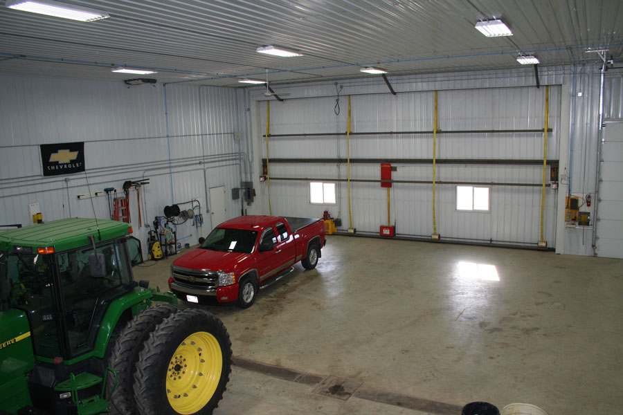 These shop lights are bright enough to keep the farm equipment well illuminated