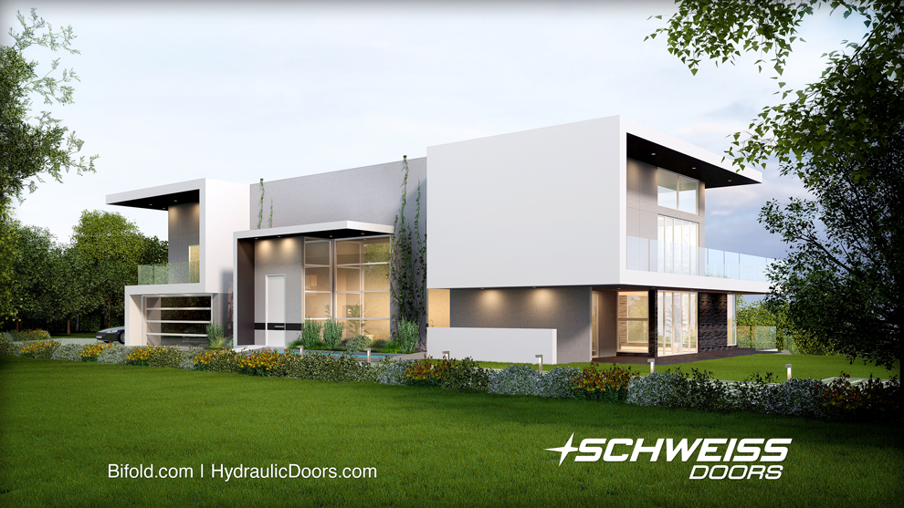 Beyond Schweiss Hydraulic Doors, the house has many great features, including stainless-steel staircases, bridges and a Jetson-style vacuum elevator