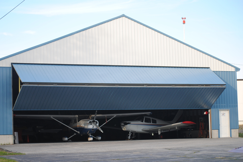 New hangar houses a 1947 Stinson 108 and Cessna 182