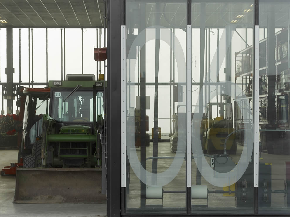numbers etched in the glass of each bifold door for quick identification