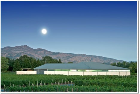A California Napa Valley Moon and lights within the vineyard shop give the buildings a distinctive glow.