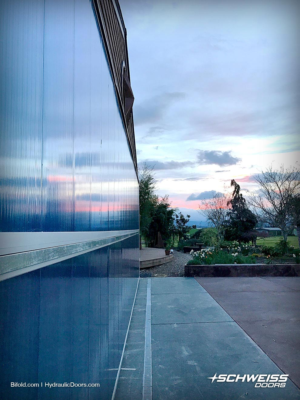 Bifold door in the sunset