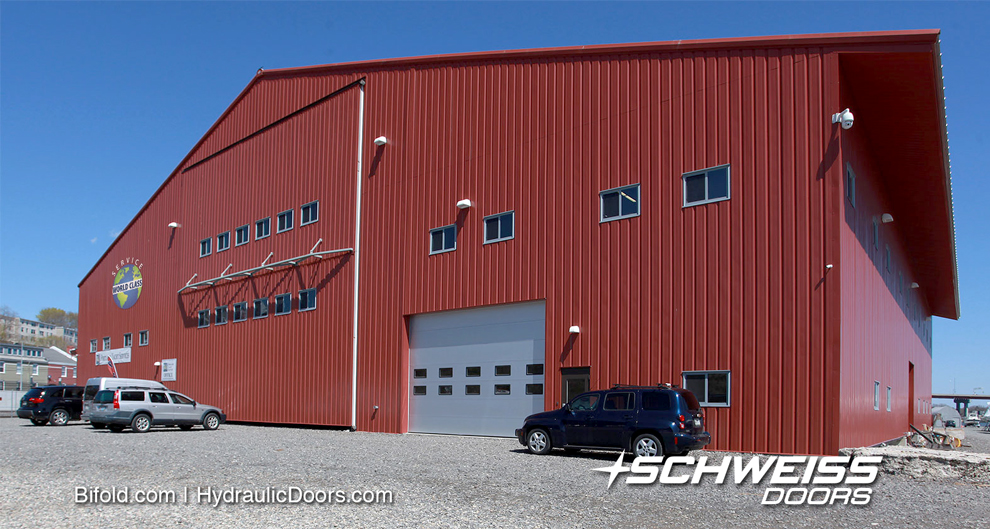 The Schweiss liftstrap door with autolatch system is 50 ft by 46 foot