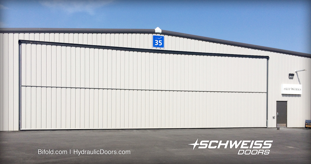 PropWorks hangar door has nice clean look that matches the building exterior