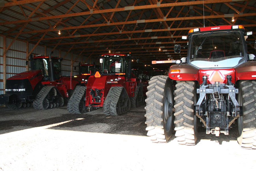 Tractors and other farm equipment in farm shed