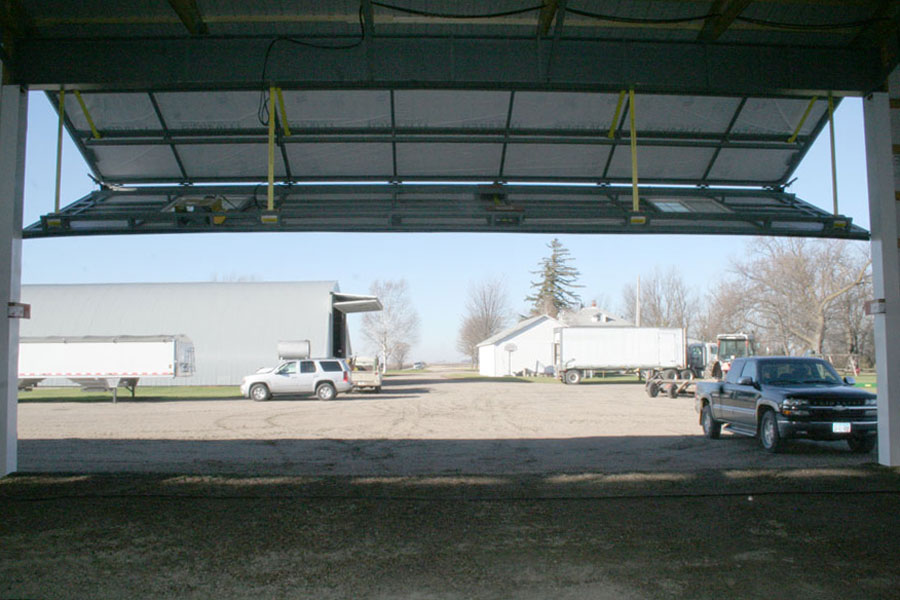 Bifold view of quonset building bifold door