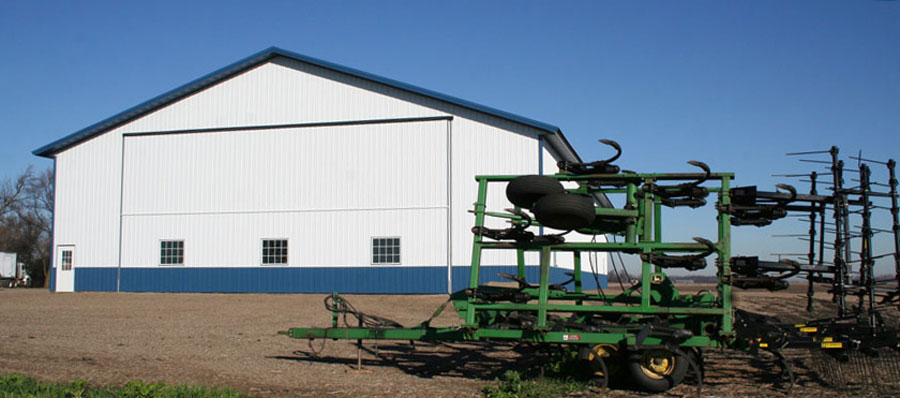 Machine shed with farm equipment