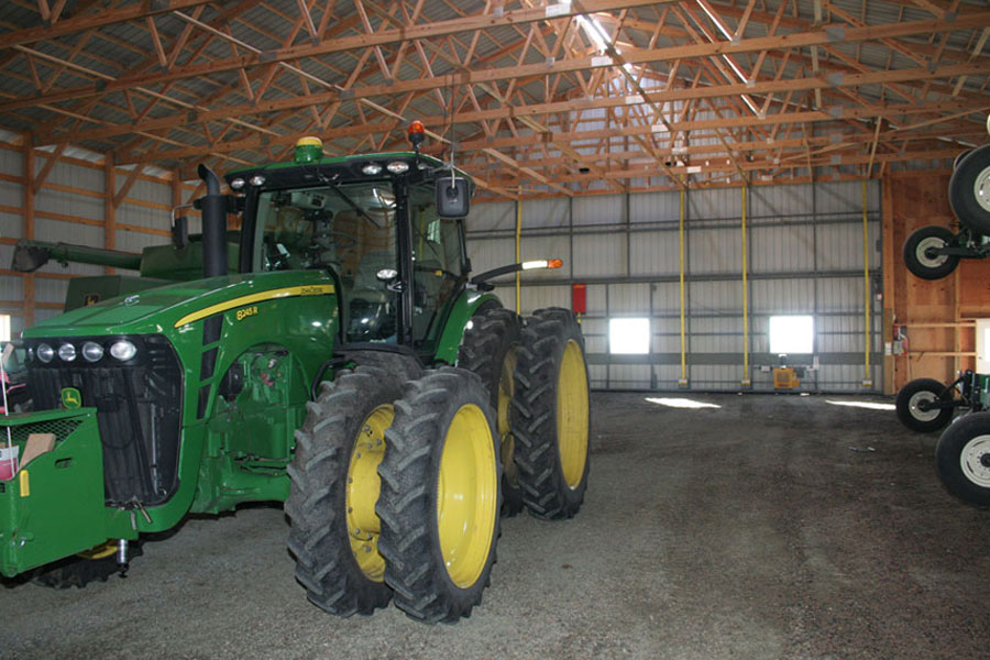 Tractor inside shed