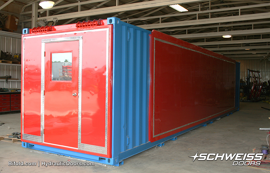 The Schweiss Container with doors closed, ready for transport