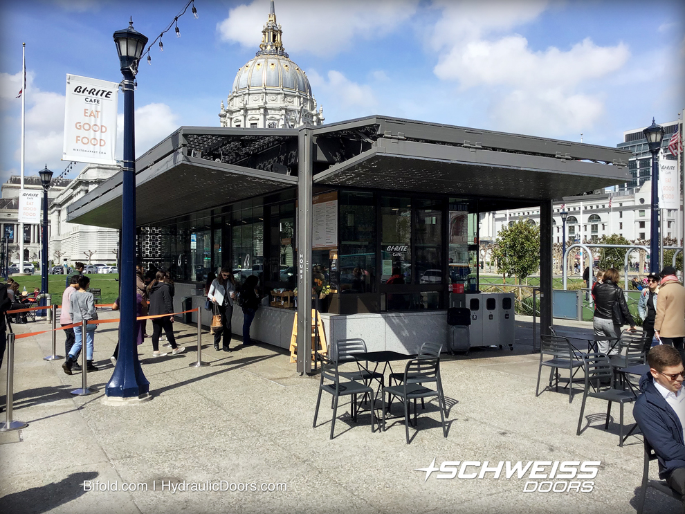 Bi-Rite Cafe Kiosk with Schweiss Bifold Doors in Civic Center Plaza of San Francisco
