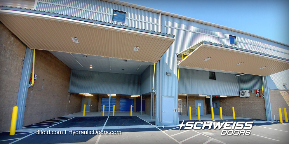 two Schweiss loading bay doors are 35 by 19 feet and 27 by 19 foot on downtown facility