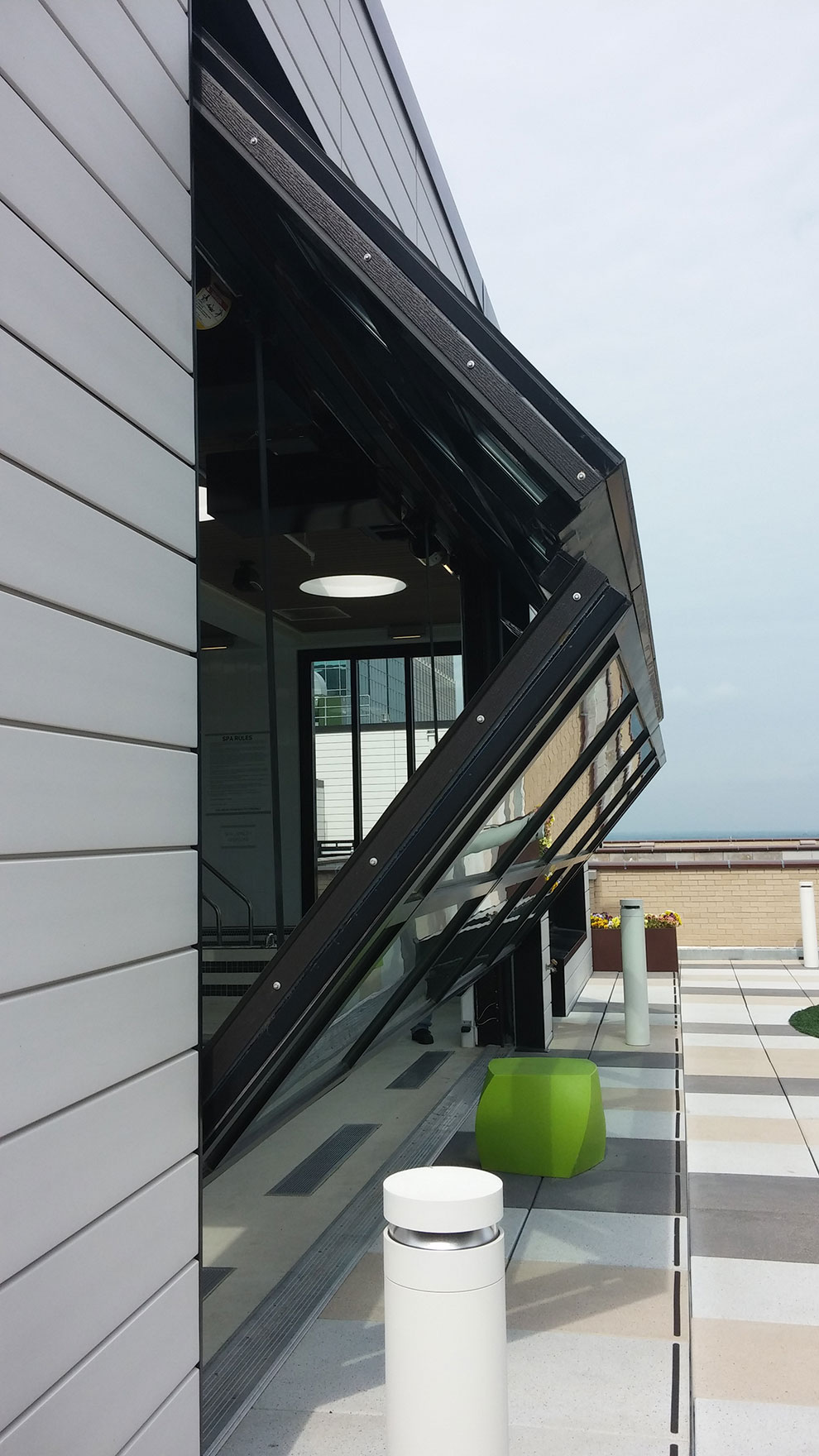 Soo Line Apartments has an awning when the Lift-Strap Door is open