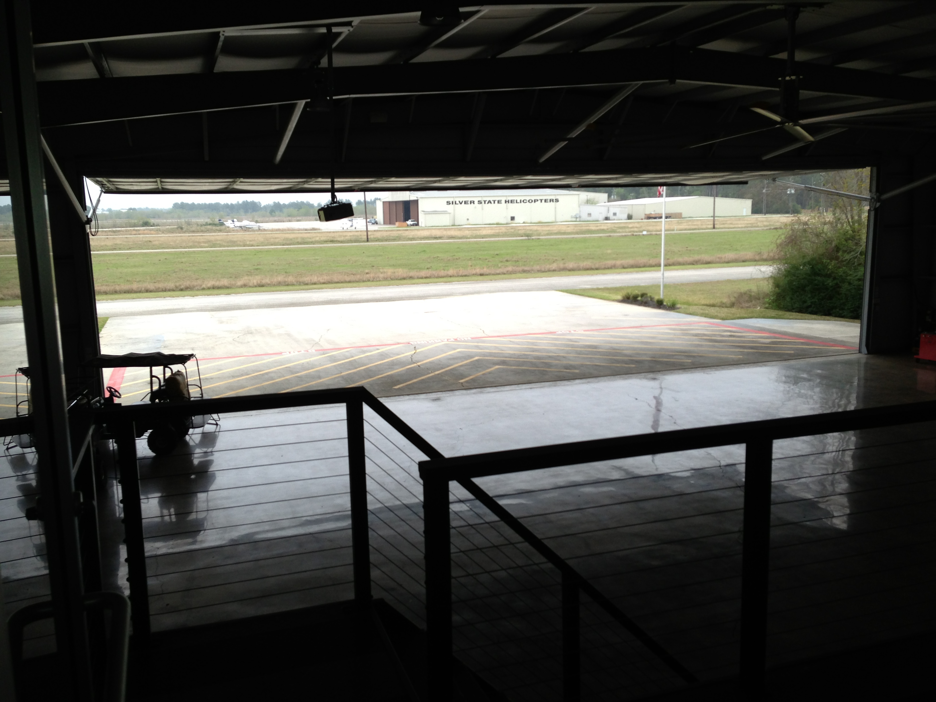 Shot from inside the Patricks hangar looking out