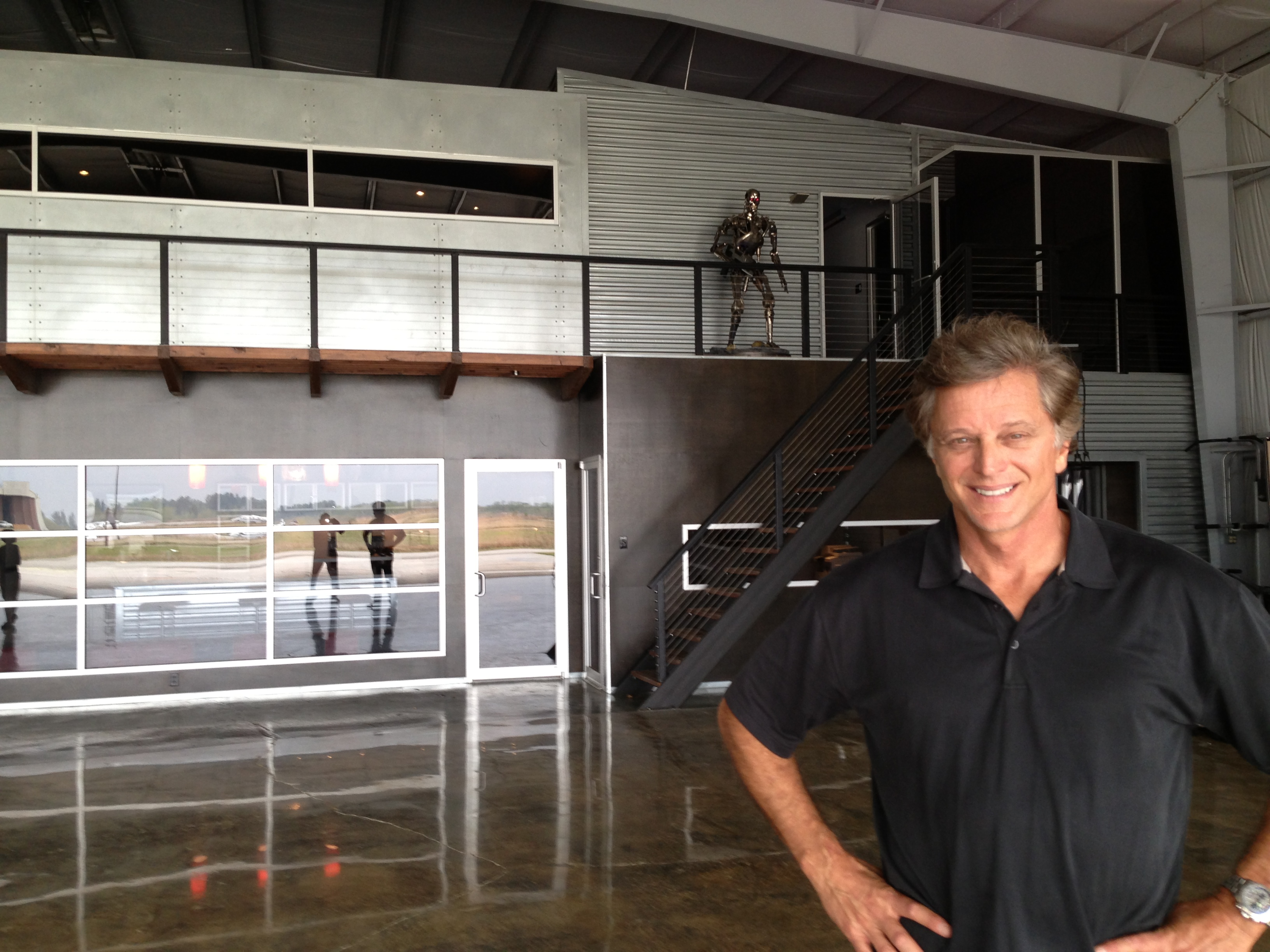 Patrick inside his hangar
