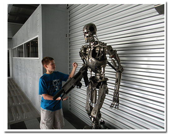 A robotically controlled Terminator robot which was a movie studio prop is a real hit with the kids.