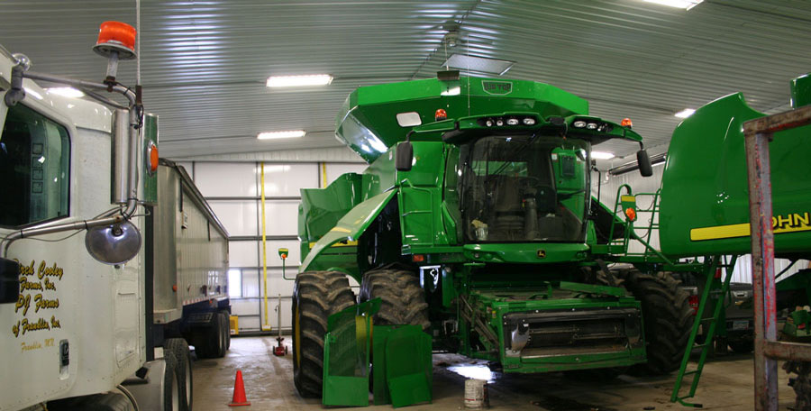 Semi and John Deere combines