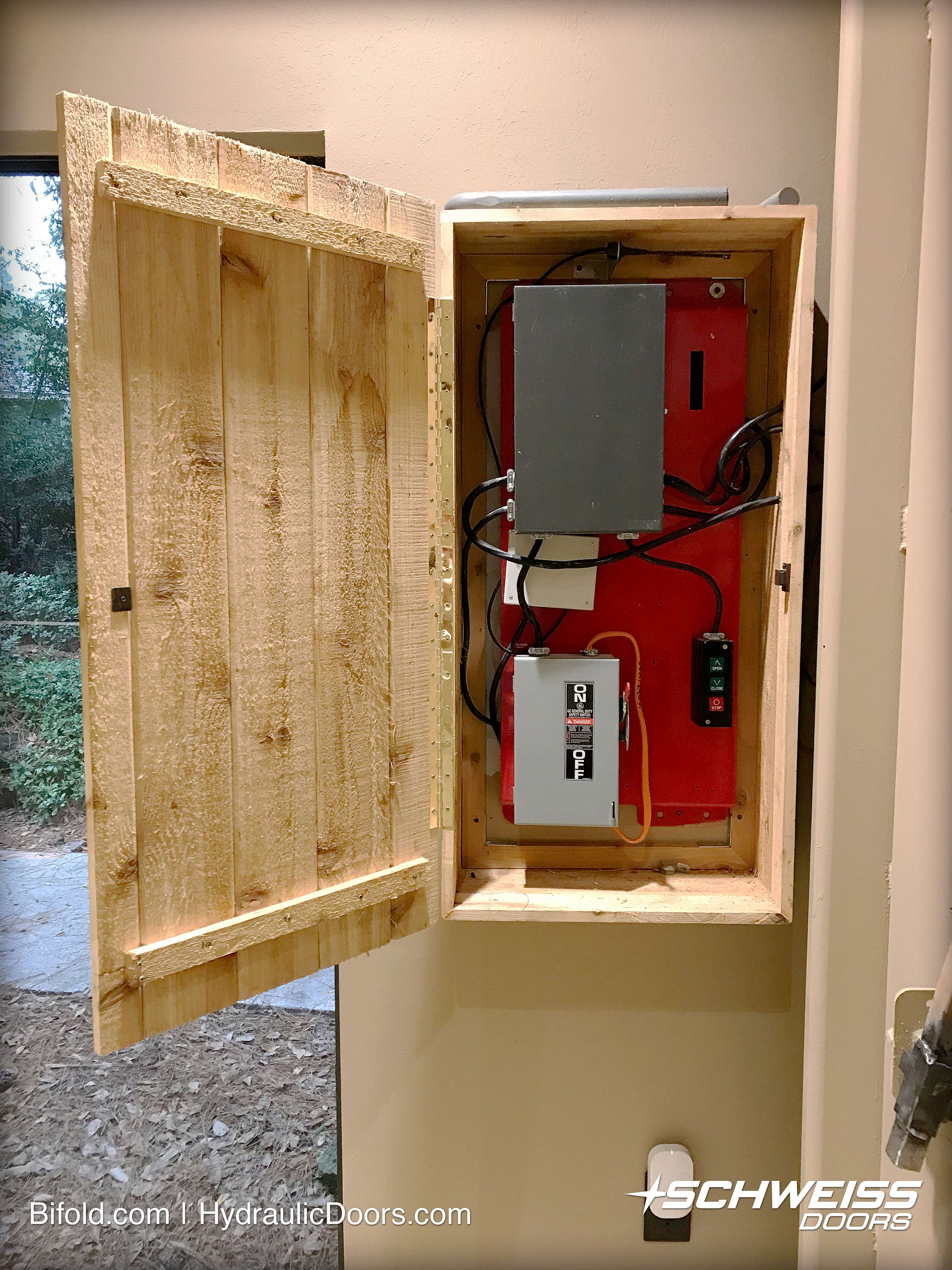 Classy wooden control box with Bifold door electronics inside