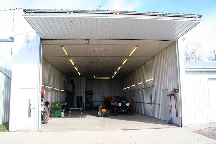 Open bifold door lights up farm shop