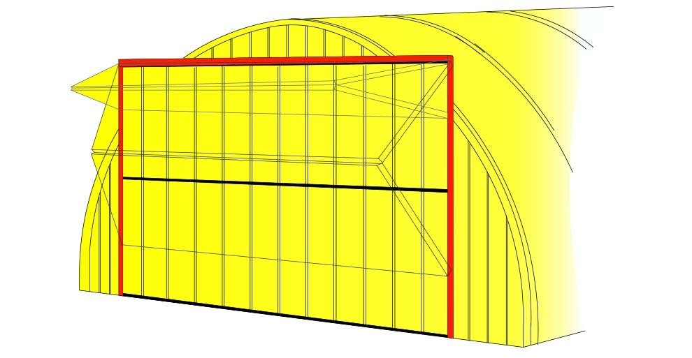 Bifold Door Drawing of Door on Quonset Endwall