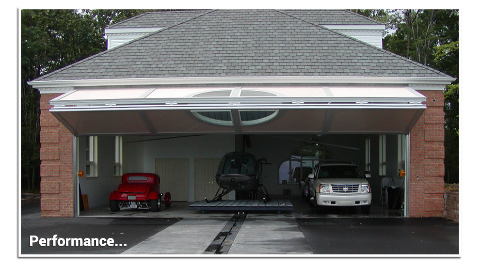 garage bifold door with custom window in the center fully open