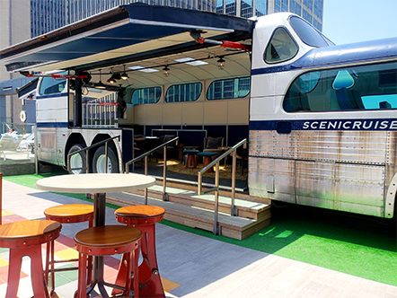 Schweiss Hydraulic Bus Doors on top of Nashville Hotel