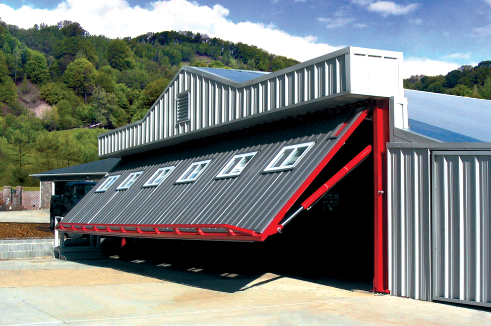 Schweiss Hydraulic Door clad in Metal