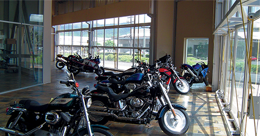 Windows Wall on Motorcycle Shop