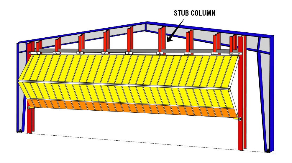 steel building with stub columns