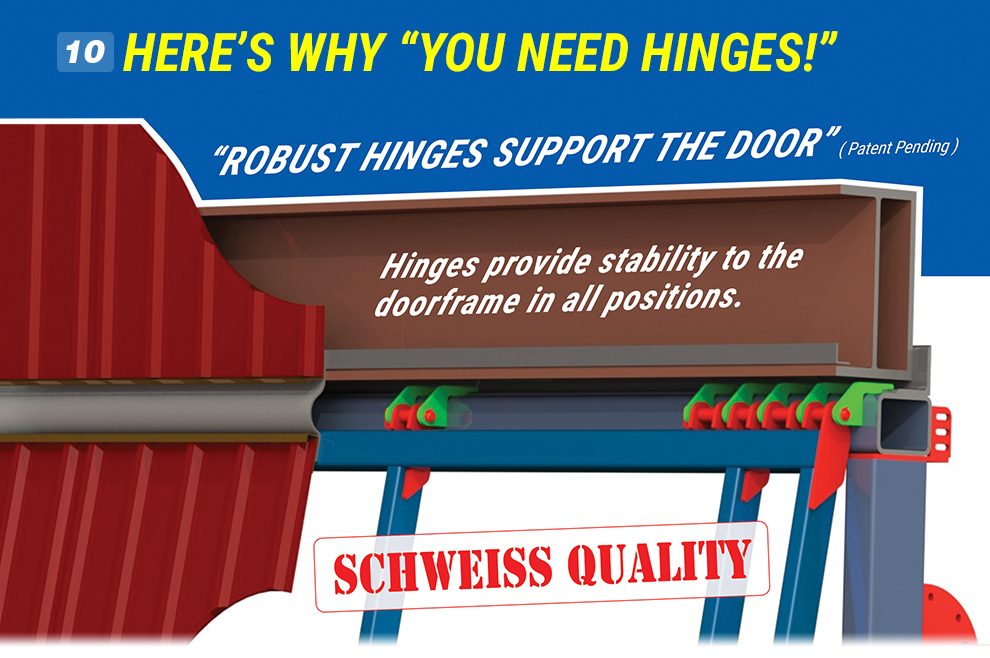 Schweiss Hydraulic Doors - Importance of Hinges on Hydraulic Doors