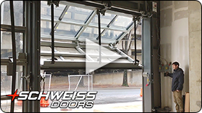 Schweiss designer glass liftstrap door at Starbucks Coffee Shop