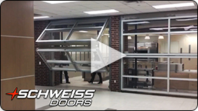 Schweiss Glass Liftstrap wall doors on Early College High School