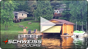 Schweiss Hydraulic Door on Lake Vermillion Boathouse