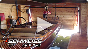 Inside Schweiss door on Lake Vermillion boathosue