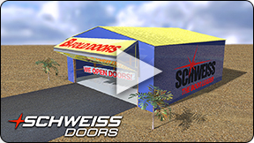 Schweiss hydraulic and bifold doors are the Pilot's Choice