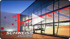 Schweiss liftstrap door at Santa Monica Headquarters